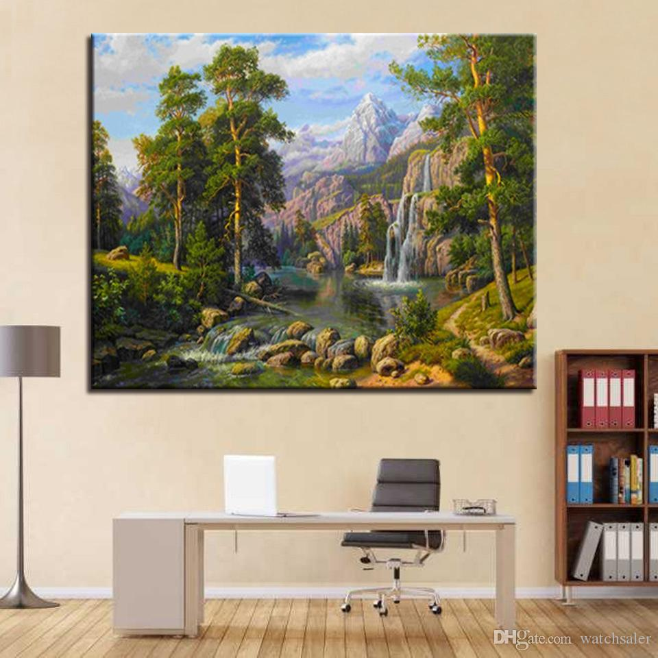 Abstract Oil Paint By Number Canvas Kits Tree Moon Mountain Coloring By Numbers