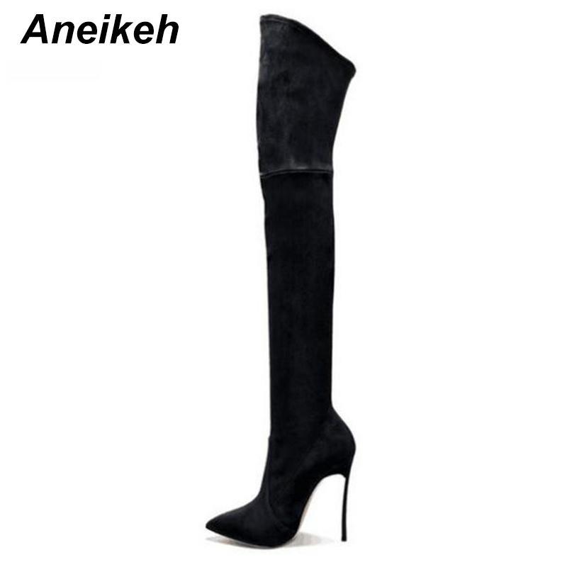 2018 İlkbahar / Sonbahar Kadın Çizmeler Streç Ince Uyluk Yüksek Çizmeler Moda Diz Üzerinde Yüksek Topuklu Ayakkabılar Kadın Sapatos D-226 #