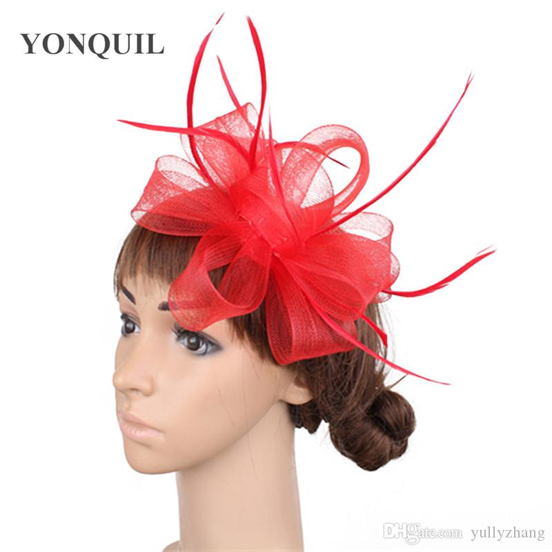 Artistic multiple color available crinoline material fascinator birthday headpiece T-platform headwear party hat show hair accessory OF1560