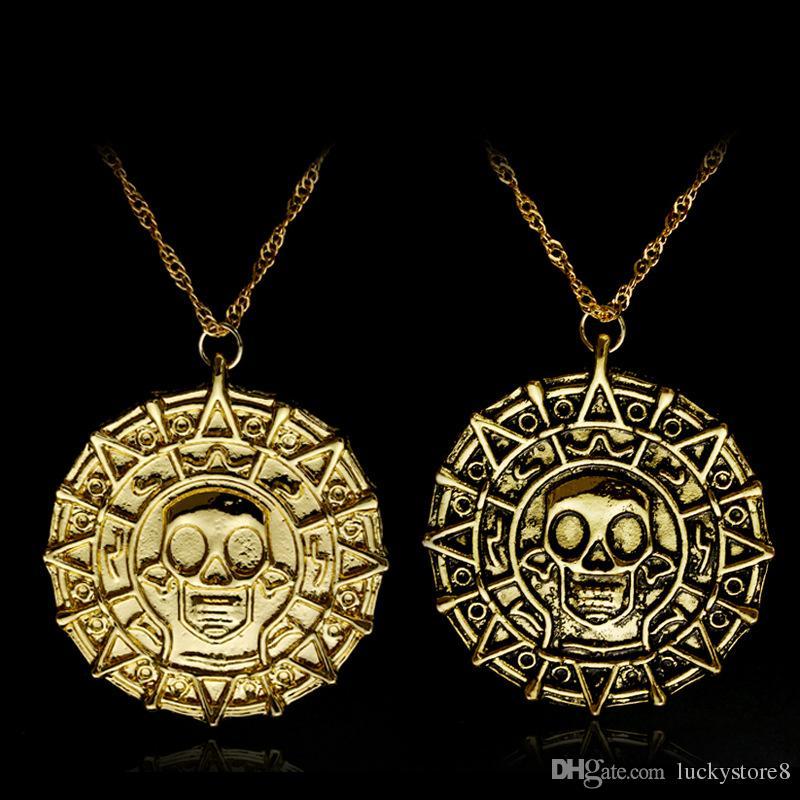 Los accesorios calientes de la película del estilo piratean, colgante del collar del cráneo de los hombres malvados de la cadena de la moneda de oro, envío libre