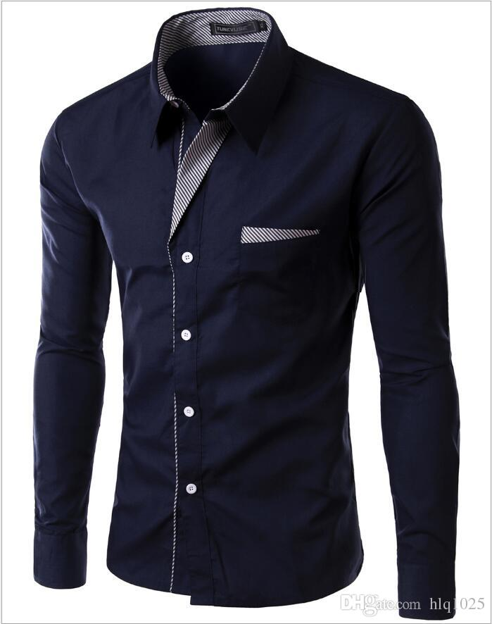 New Fashion Long Sleeve Shirt Men Korean Slim Design Formal Casual Male Dress Shirt Multi-color optional