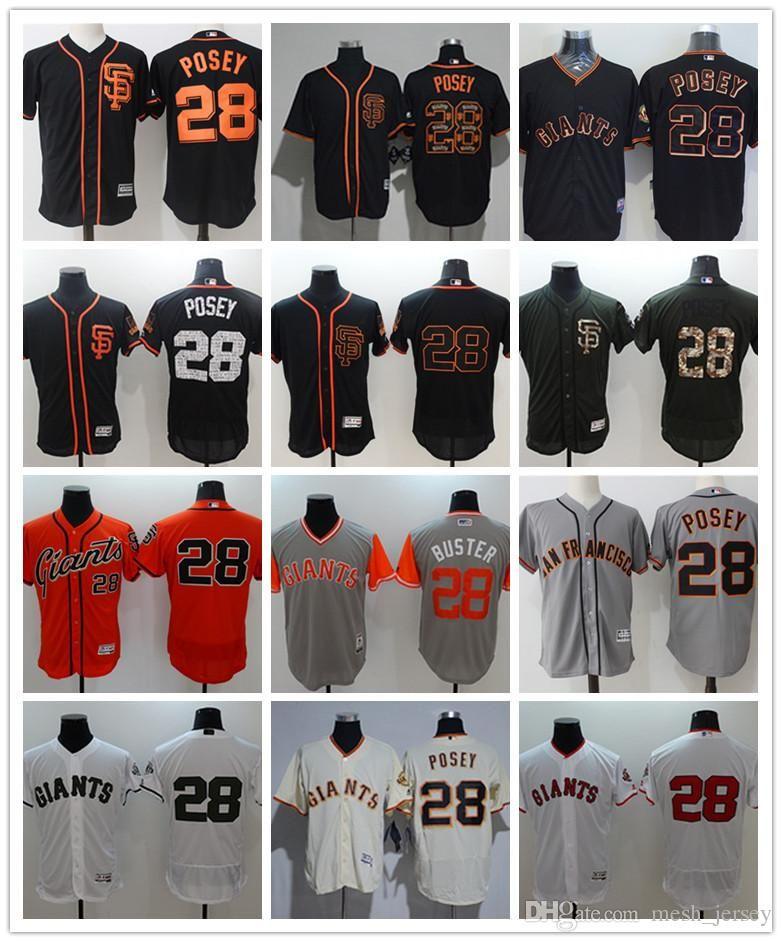 обычай мужчин женщин молодежи Сан-Франциско Джайентс Джерси # 28 Поузи Home Оранжевый Серый Белый Бейсбол Трикотажные изделия