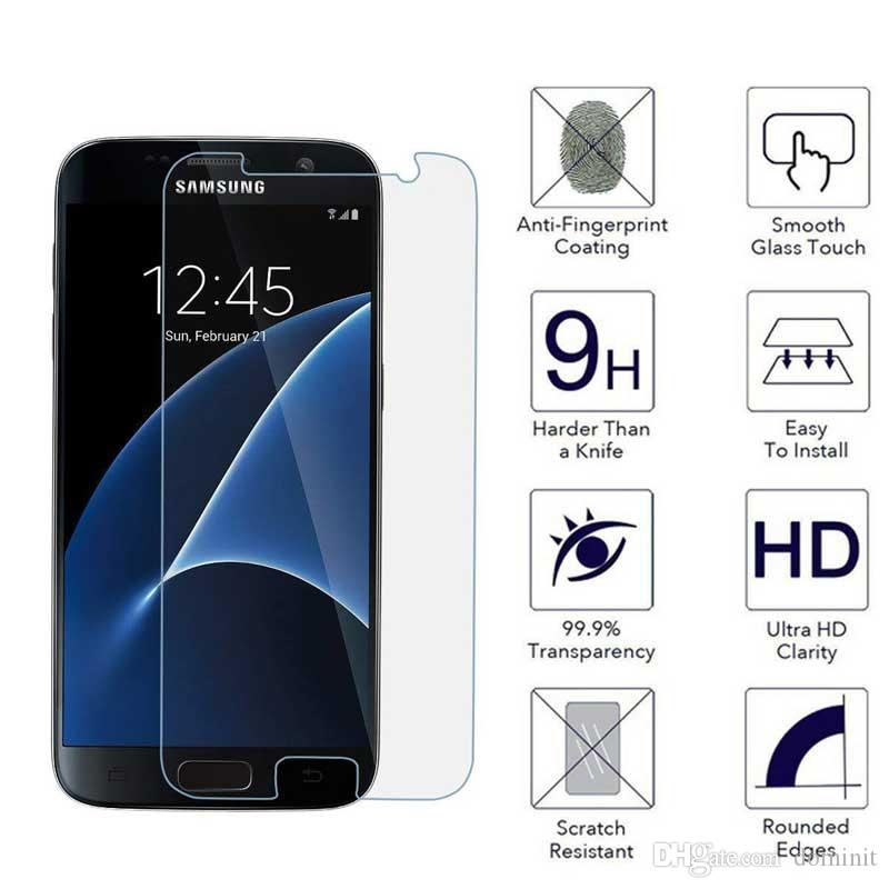 For Samsung Galaxy Note4 Film Tempered Glass Screen Protector 9H 2.5D Anti-Fingerprint Coating for Samsung S7 Galaxy Note 5