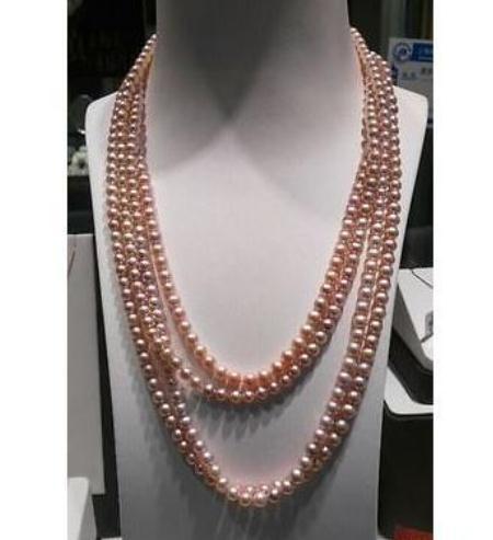 Vendita calda 8-9mm naturale dei Mari del Sud Collana di perle rosa 100 pollici in oro 14K catenina collane di perline