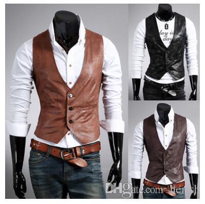 Men Leather Dress Vest Autumn Spring Style High Quality Fashion Chaleco Hombre Casual Brown Suit Vest Men Slim PU Men Vest
