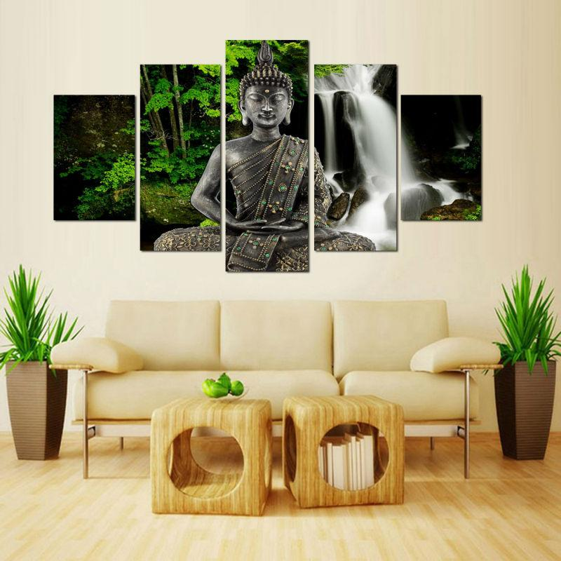 2021 Modern Painting Room Decor Print Picture Canvas Poster Unframed Wall Art Printed Buddha Forest Waterfall From Onlybrand 17 17 Dhgate Com