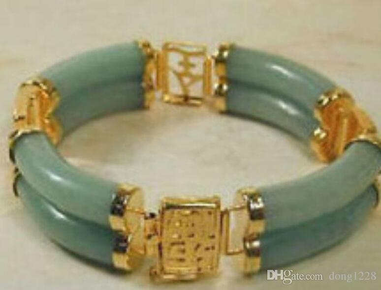"GREEN CHINESE stone BEAD BRACELET wind Bangle wide 7.5"" Girl Woman MEN Quartz jewelry"