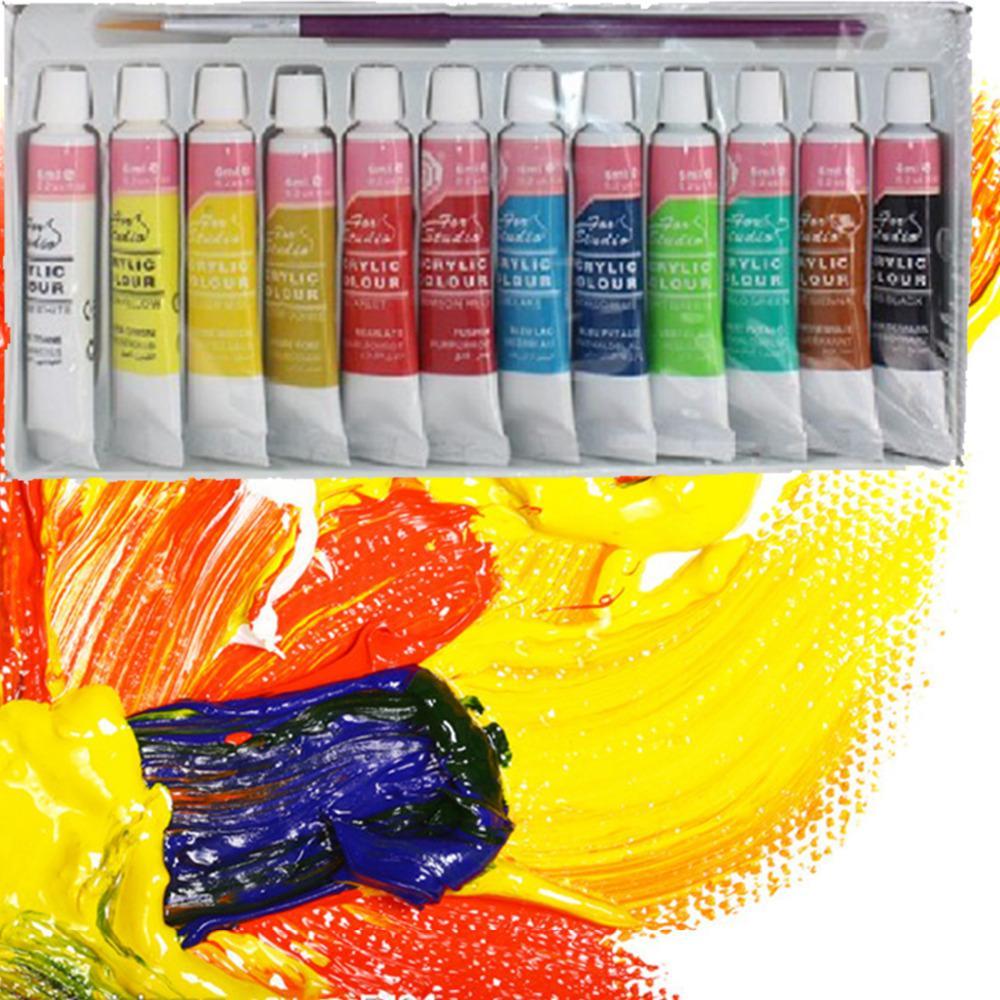 12 الألوان المهنية الاكريليك دهانات مجموعة اليد رسمت جدار اللوحة النسيج الطلاء الزاهية الملونة الفن اللوازم شحن مجاني