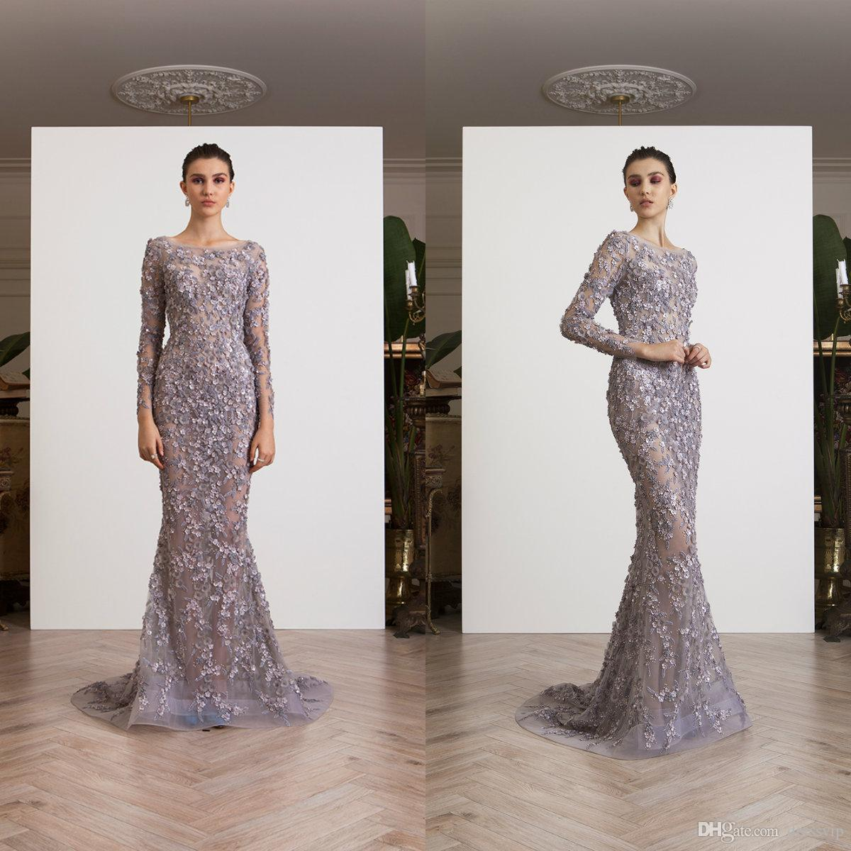 Großhandel Luxus Libanon Abendkleider 12D Floral Applikationen Perlen  Langarm Juwel Hals Spitze Abendkleid Party Nach Maß Meerjungfrau Verlobungs