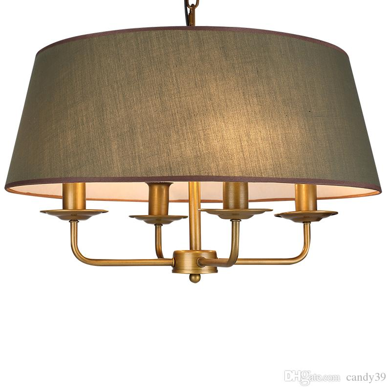 نسيج طبل الظل ضوء قلادة وفت مصباح قلادة الأخضر القماش تعليق ضوء غرفة النوم الرئيسية دراسة الإضاءة PA0398