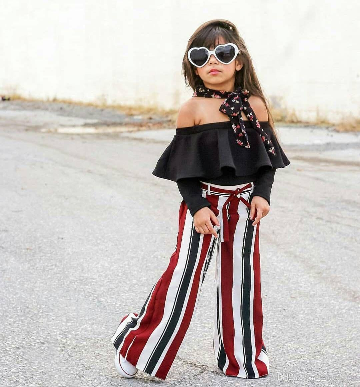 Neonate vestiti vestiti 2018 modelli di esplosione ragazze vestito giacca parola moda e pantaloni a righe due set