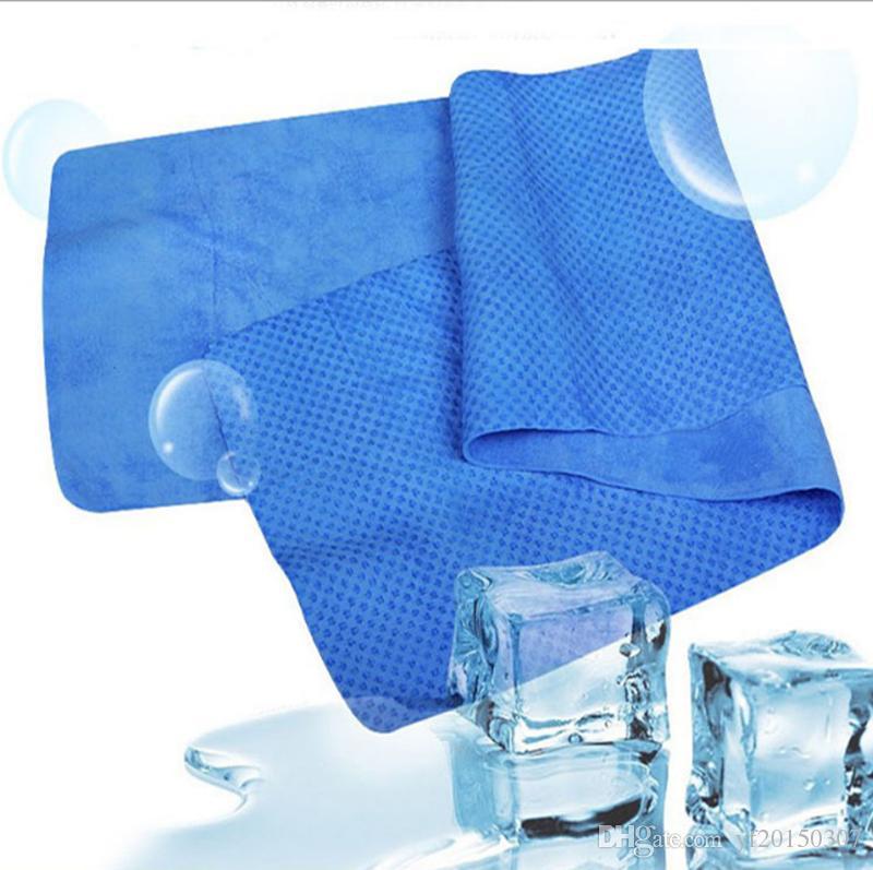 Toallas frías 80 * 17CM Toallas de refrigeración deportiva Sudor Toalla de hielo de verano Hielo Toalla fría Hipotermia de alta calidad