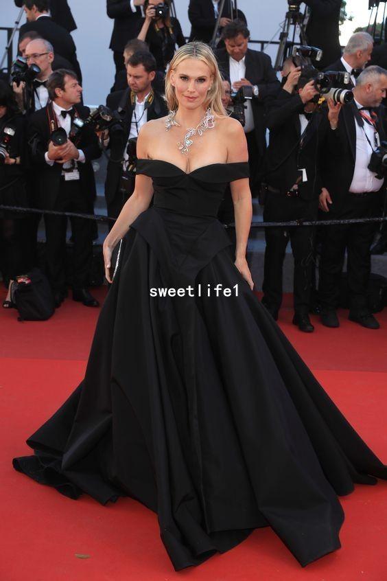 Festival de cine de Cannes Moda 2019 Negro Celebrity Vestidos del hombro Puffy Satén Imperio Cintura Formal Vestidos de alfombra roja