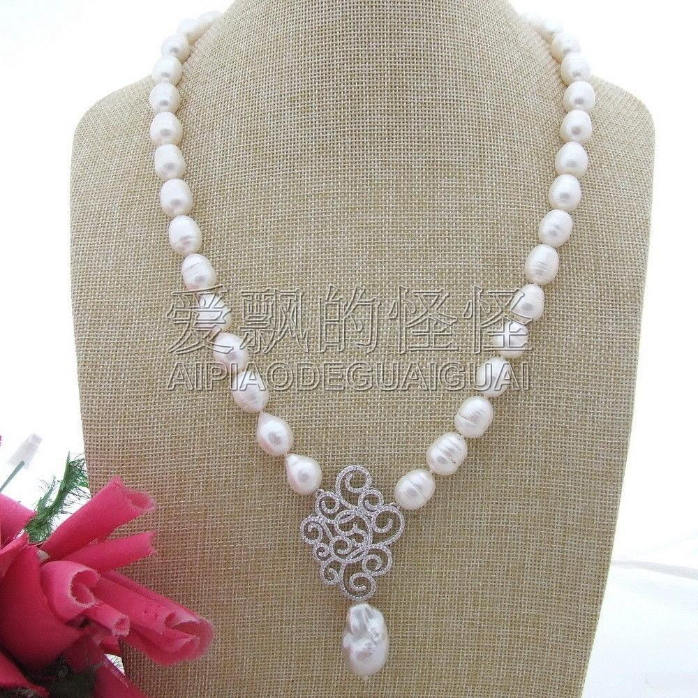 N112012 24'' 15x25MM White Keshi Pearl Necklace CZ Pendant