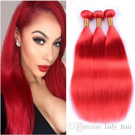 Pure Red Color Virgin Brazilian Human Hair Wefts Extensions 3Pcs Silky Straight Virgin Remy Hair Weaves Light Red Human Hair Bundles 10-30""