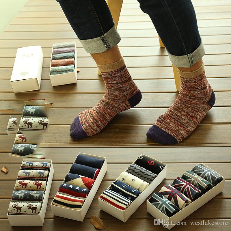 Nueva caliente de la venta de algodón raya Harajuku Hip Hop calcetines ocasionales largos del monopatín Calcetines del barco de la calle de los hombres para hombre