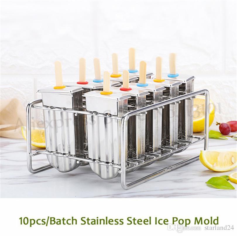 10 adet / Toplu Paslanmaz Çelik Buz Lolly Kalıp Popsicle Kalıpları Dondurulmuş Buz Küp Kalıpları Popsicle Makinesi DIY Dondurma Araçları