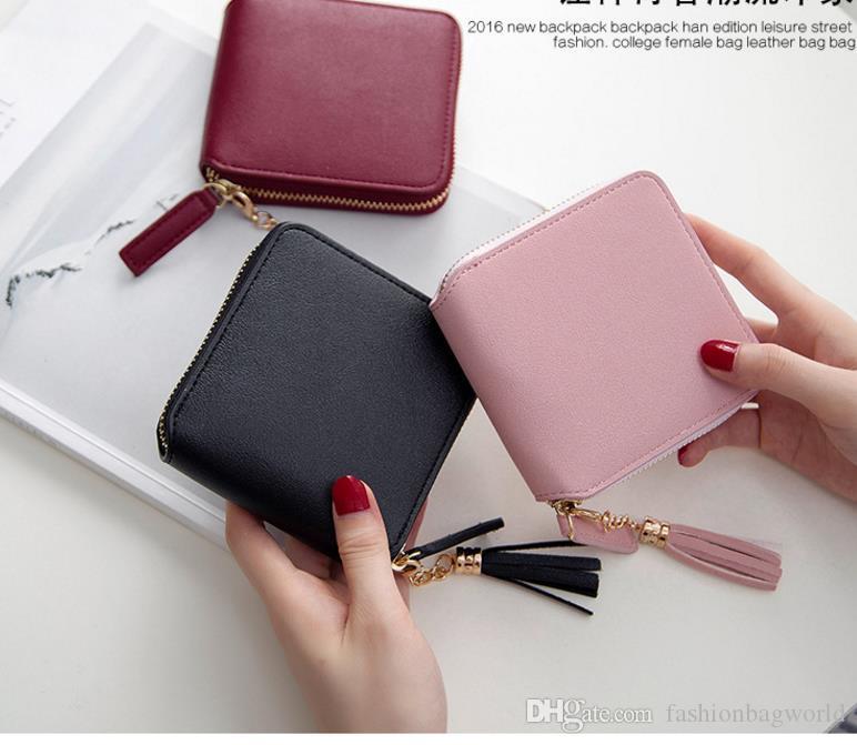 2018 fashion Best Selling! Genuine Leather Women Short Wallet Zipper Purse Short Handbag 3 Colors For Girl Lady Nice Gift Money Bag