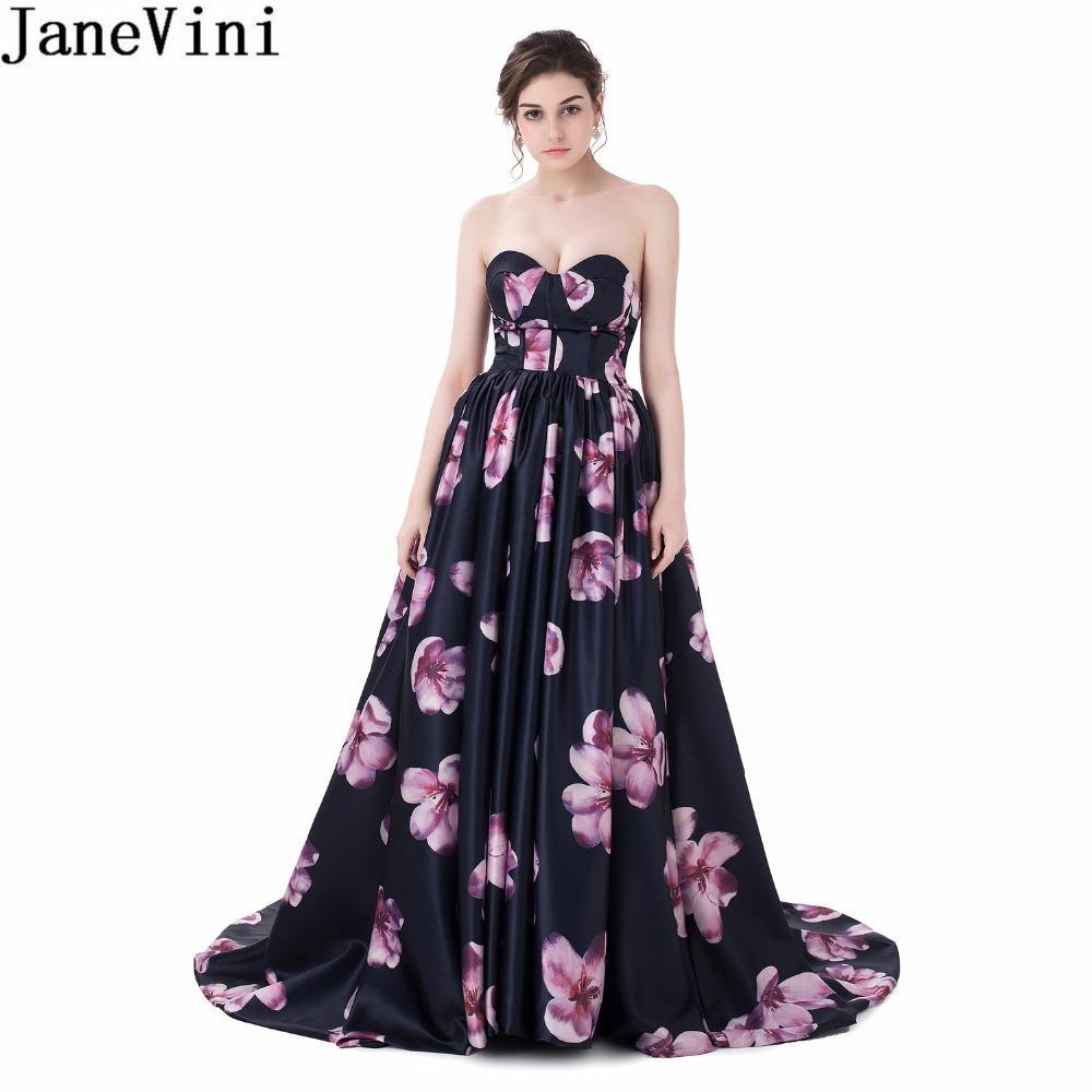Atacado Floral Vestido de Festa de Casamento Plus Size Querida Sweep Trem Floral Impressão Da Dama de Honra Vestidos Longo Empregada De Honra Vestidos