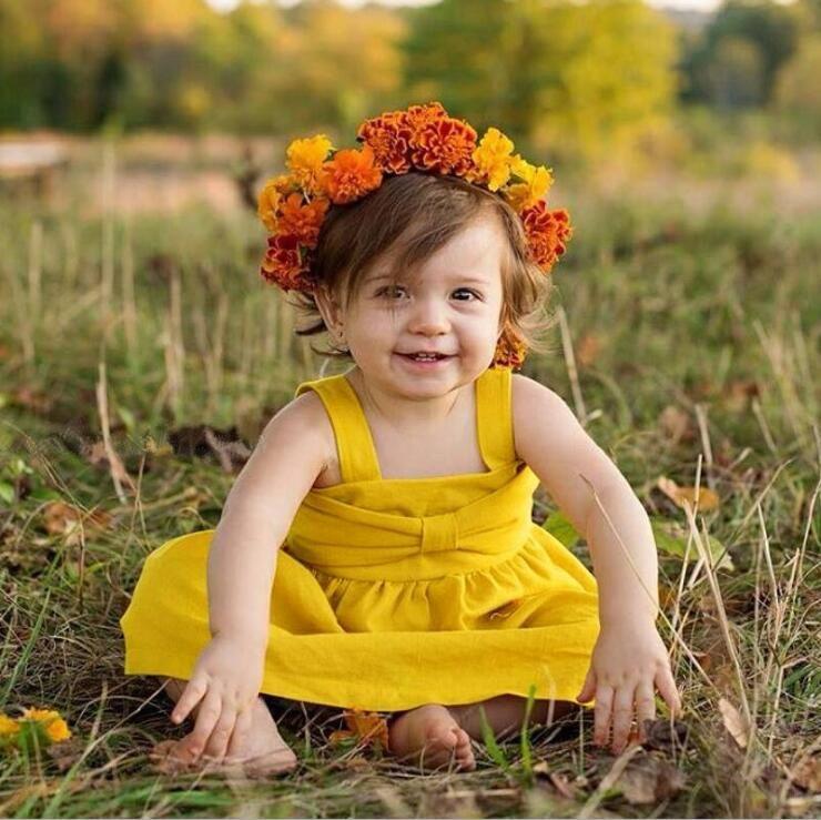 Vestito da Hotsale INS di estate con il vestito giallo backless dal vestito dei bambini della maglia della ragazza sveglia speciale dell'increspatura di bowknot DHL libera il trasporto