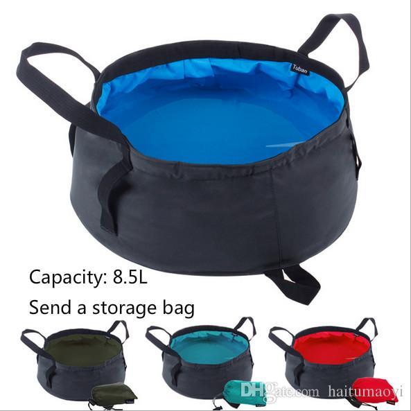 8.5L Portable Ultra-light Folding Water Packs Storage Washbasin Bucket Outdoor Hiking Camping Fishing Washing Basin Survival Tool LF006