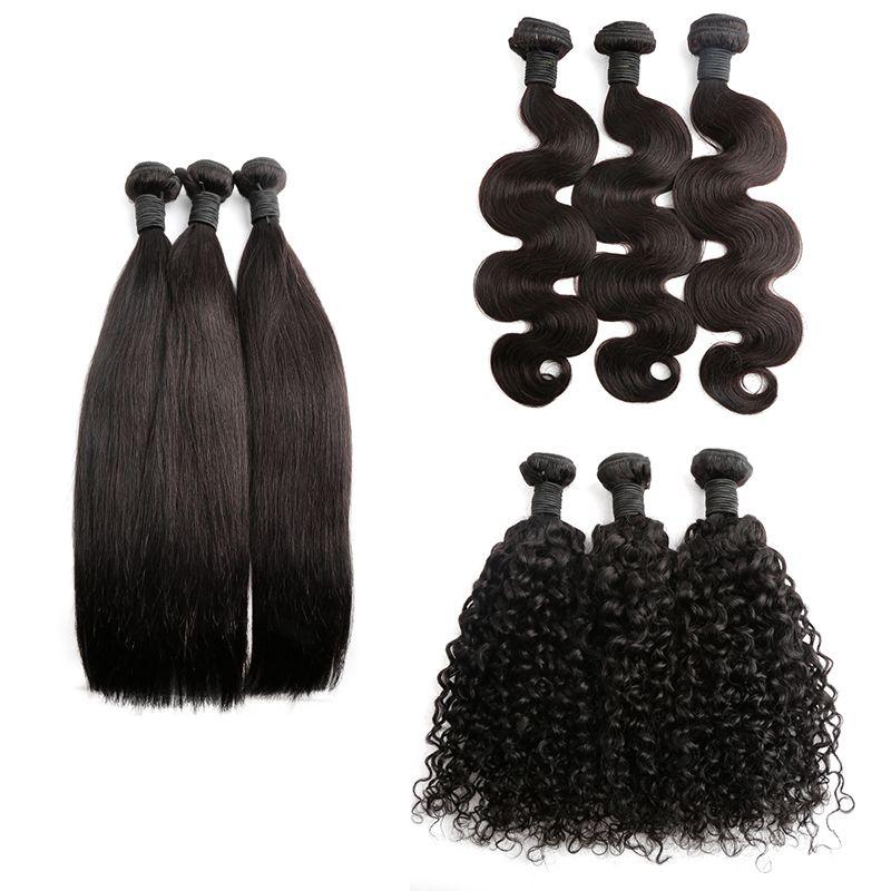 新しい到着人間の髪の束体波の直線の厚さのブラジルのバージンヘア緯糸の伸びる自然な色の二重緯ベラの髪