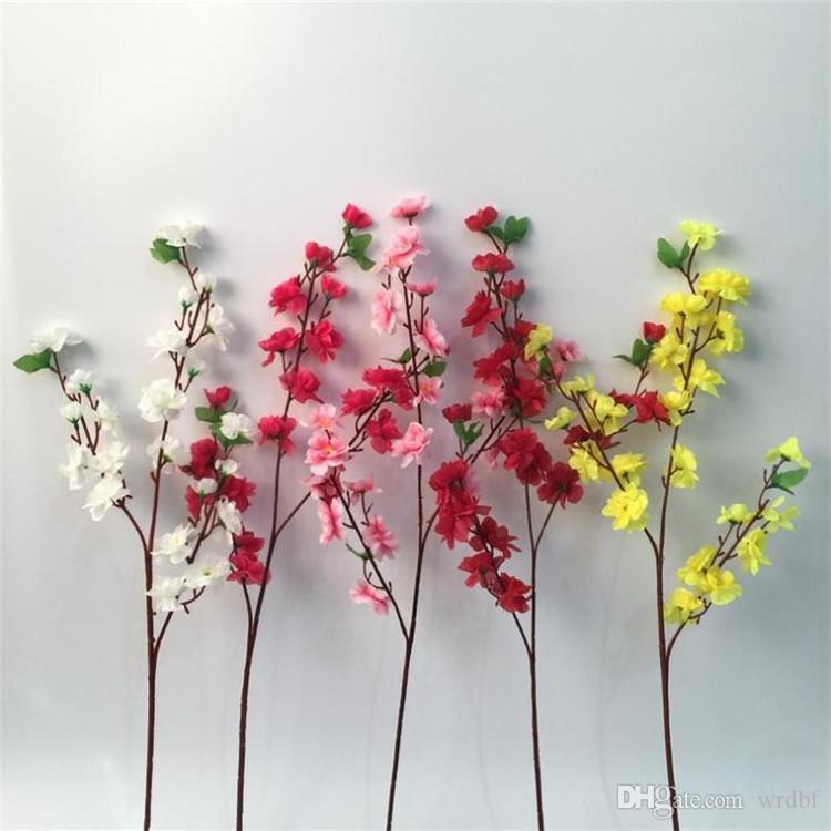 Gefälschter langer Stamm-Pfirsich-Blüte (3 Stämme / Stück) Simulations-Pfirsich für Hochzeits-Hauptschaukasten-dekorative künstliche Blumen
