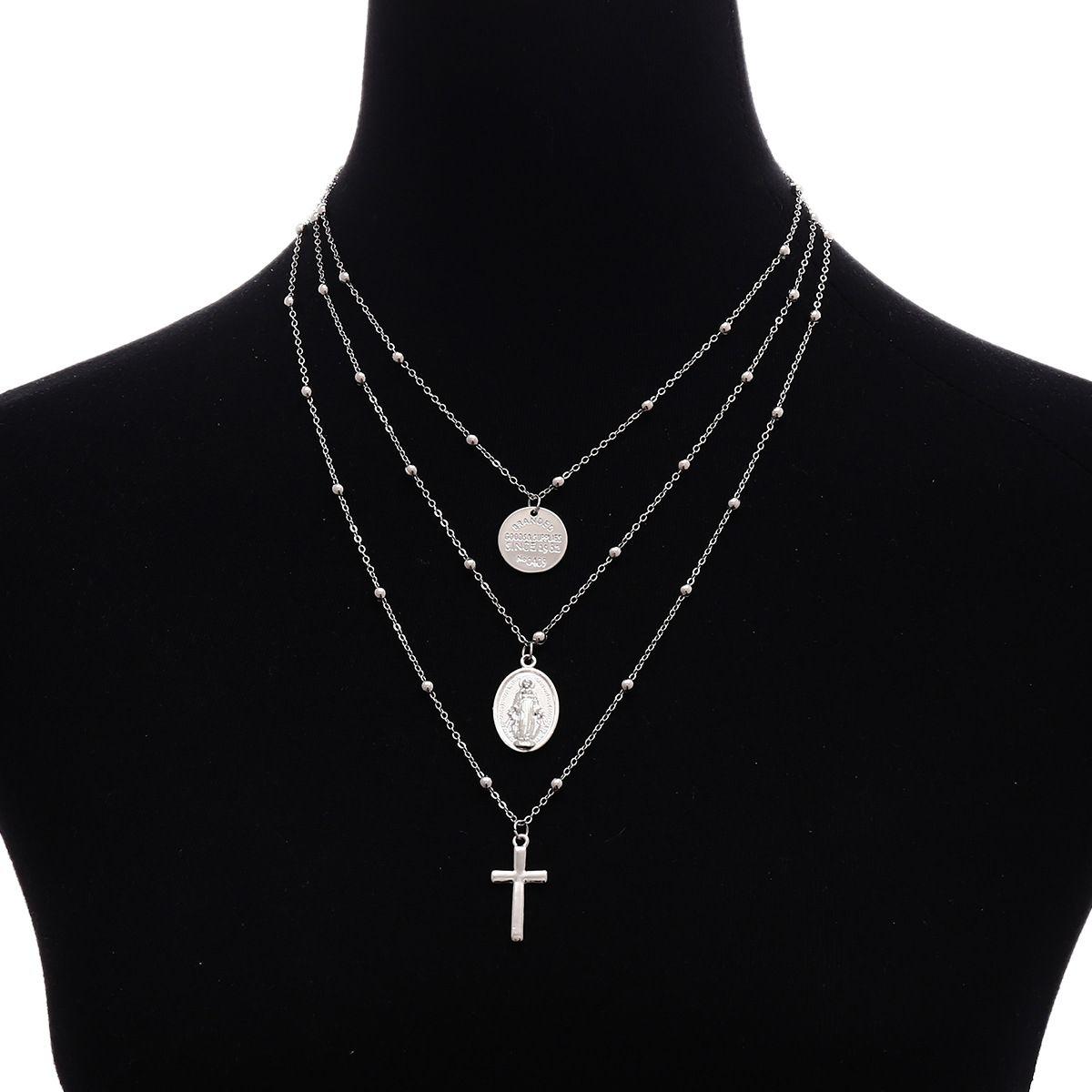 Europa e América estilo cadeia de moda colar de pingente de cruz peça redonda 3 camadas verão colar de praia para as mulheres de jóias