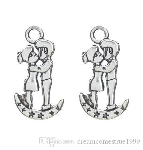 100Pcs alloy Moon Boy and Girl Charms Antique silver Charms Pendant For necklace Jewelry Making findings 29x15mm