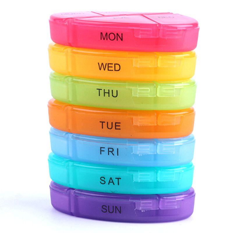 Medicina portatile settimanale Arcobaleno Pillola 7 giorni Tablet Sorter Box Container Case Organizzatore Sanità
