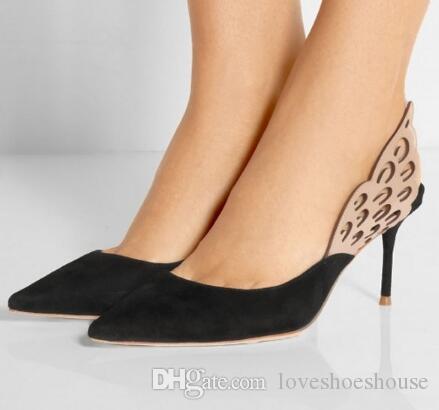 Patchwork Alas de mariposa Zapatos de tacón alto Sexy punta estrecha Slingbacks Mujeres Bombas Tacones de aguja Zapatos de boda nupcial