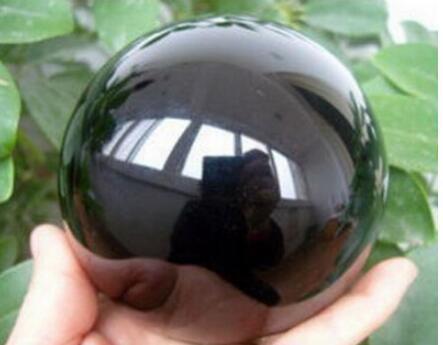 60 mm + soporte - Piedra curativa de bola de cristal grande esfera natural de obsidiana negra
