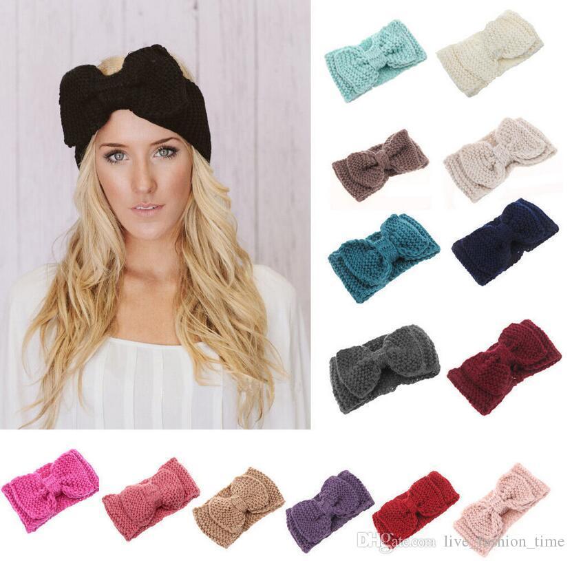 Kız Saç Aksesuarlar için Kadınlar Lady Moda Tığ Big Bow Knot Turban Örme Başkanı Wrap Hairband Kış Kulak Isıtıcı Kafa Saç Bandı
