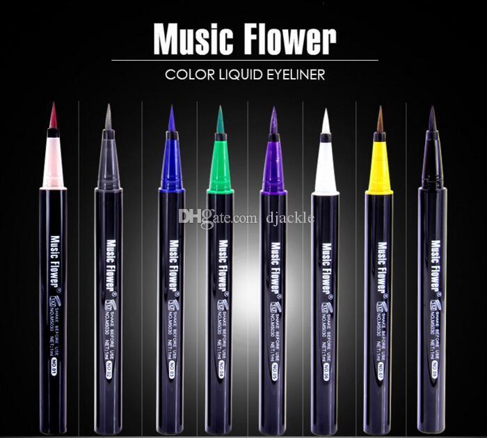 Trucco Marca musicale Fiore Colore Eyeliner Penna liquida Impermeabile Non fiorente 8 colori possono scegliere