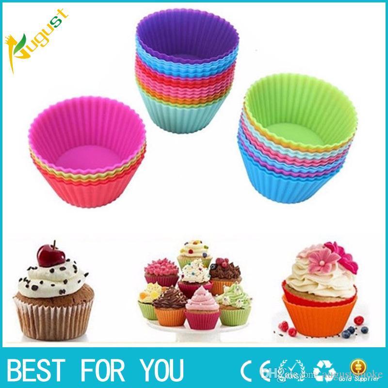 12 قطعة / الوحدة سيليكون كعكة الكعك الشوكولاته كب كيك بطانة الخبز كأس كوكي العفن 8 ألوان