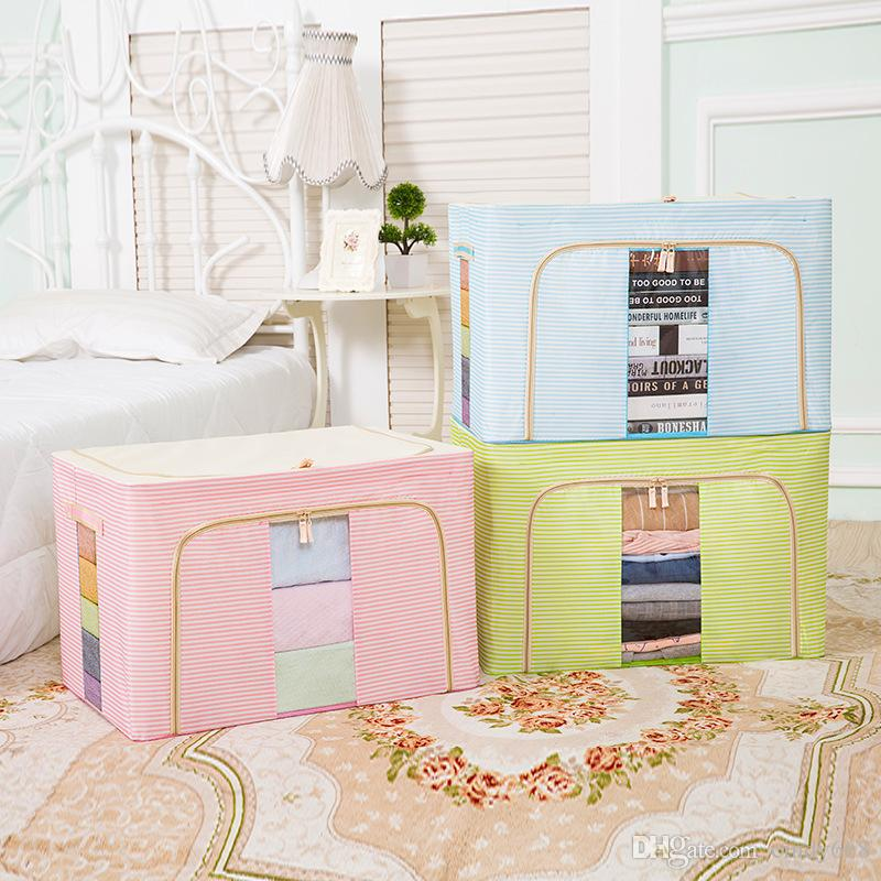 Oxford Cloth Storage Box Oversize Lid Finishing Box Clothes Quilt Steel Frame Boxes 50*40*33CM Store All Kinds Of Sundries Cajas Closet Bags