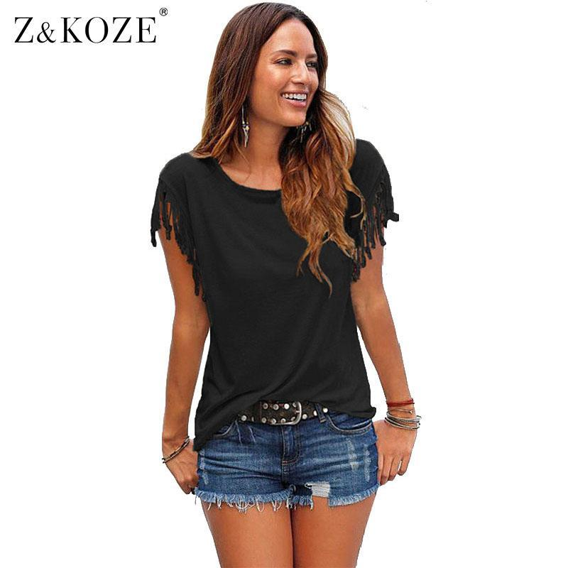 Wholesale- Z&KOZE 2017 New Summer Plus Size Tassel t-shirt Women T Shirts Short Sleeve Tops Tees Tshirt Fashion For Women Sexy Blusas