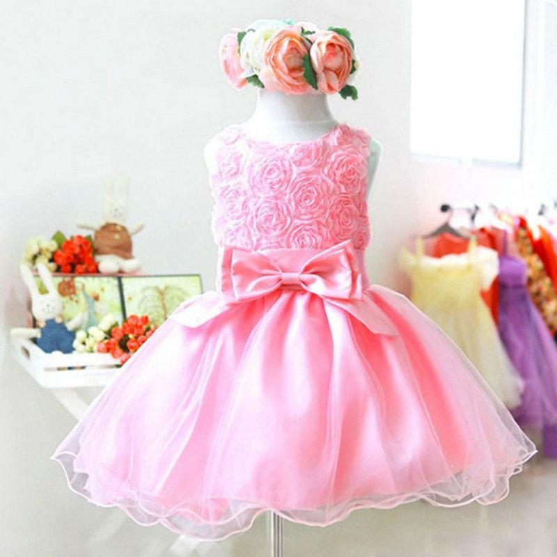 Precio de fábrica de alta calidad! Nuevo 1pc Girls Dress Baby Children Purple Pink Rose gasa vestidos de princesa