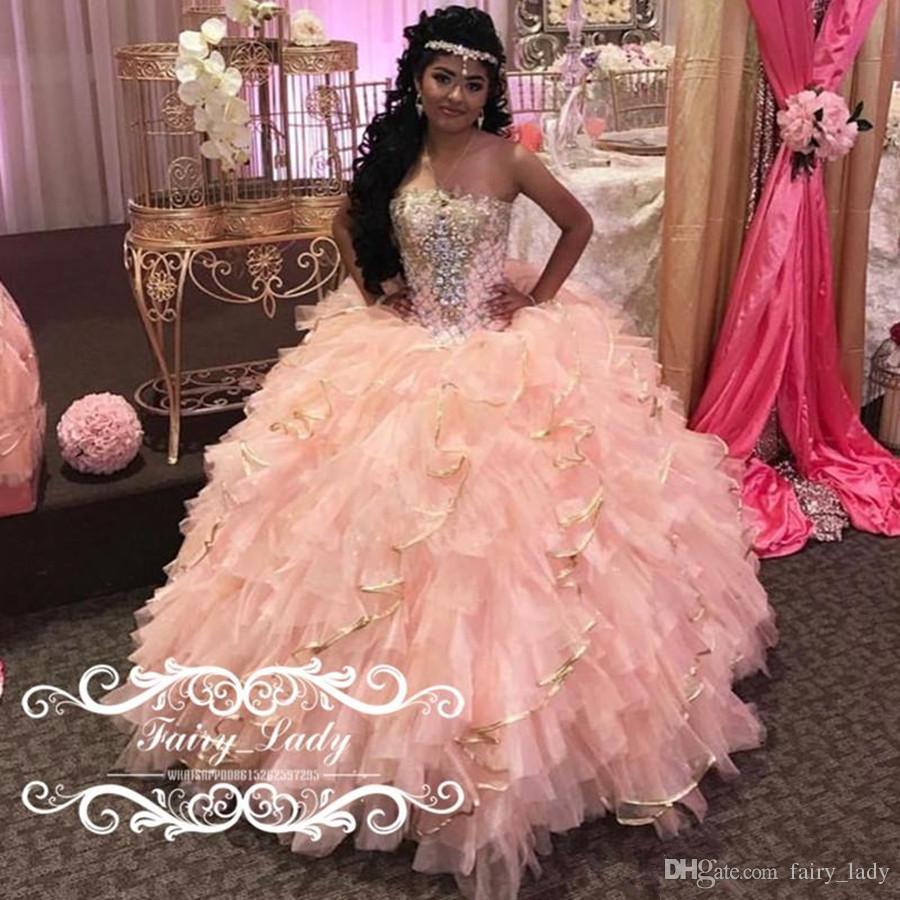 großhandel 2018 rosa quinceanera kleider lange tiered cascading rüschen  puffy ballkleid strass kristall sweet 16 abendkleid vestidos de 15 anos von