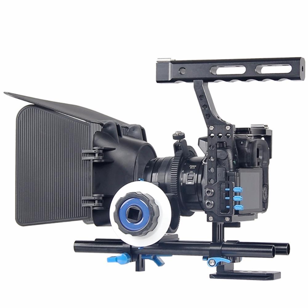 DSLR видео фильм стабилизатор комплект 15 мм стержень Рог камеры Кейдж ручка сцепление следовать фокус матовая коробка для Sony A7 II A6300 / GH4