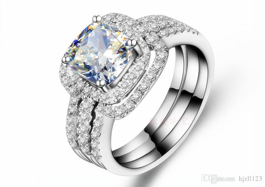 Pedra principal 2ct Princesa Corte Anel de Diamante Sintético 3 Anéis em um Conjunto de Jóias de Noivado Para As Mulheres de Prata Esterlina 18 K Acabamento em Ouro Branco