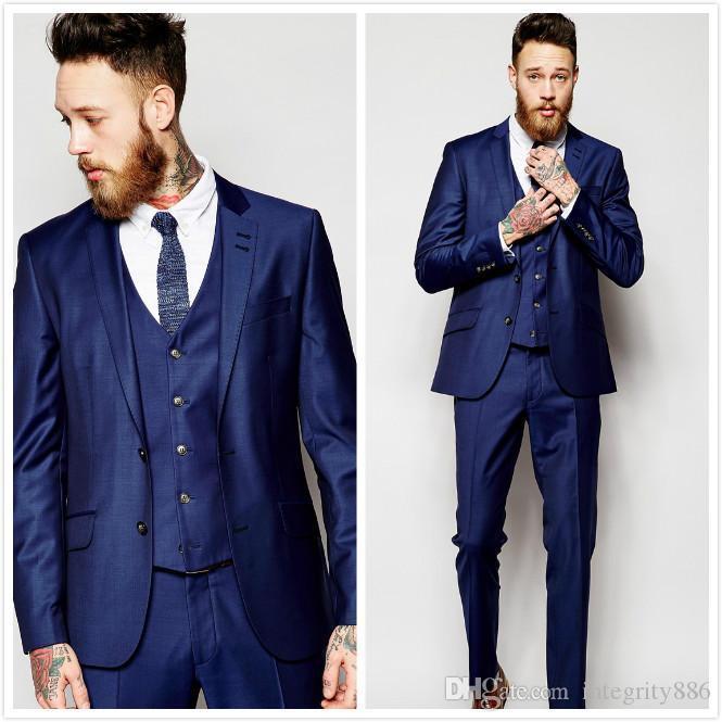 Niebieski Trzy Kamień Groom Tuxedos Notch Lapel Side Vent Man Wedding Garnitur Przystojny Mężczyźni Business Dinner Prom Blazer (Kurtka + Spodnie + Kamizelka + Kamizelka) 32