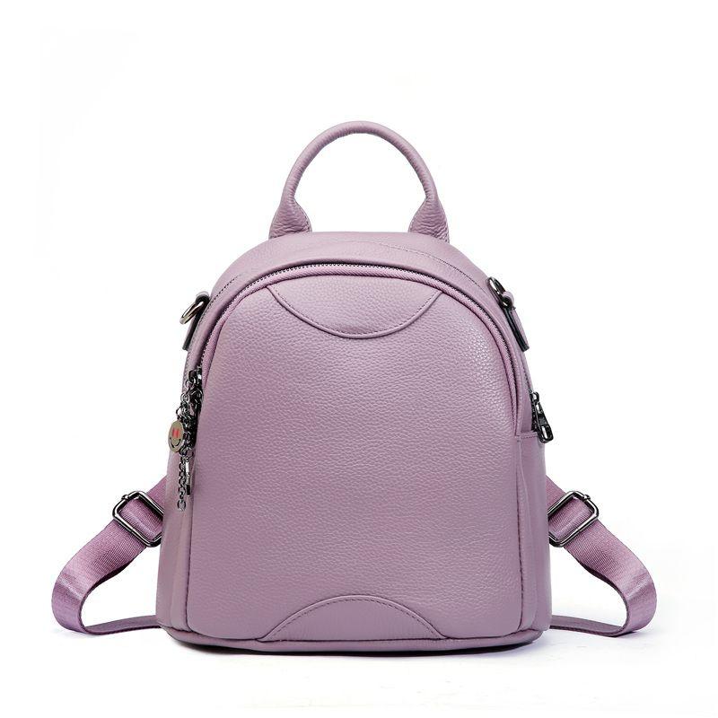 wholesale New Fashion Purple Black Red Genuine Leather Cute Small Women Backpack Female Girl Backpacks Ladies Shoulder Bag M0976