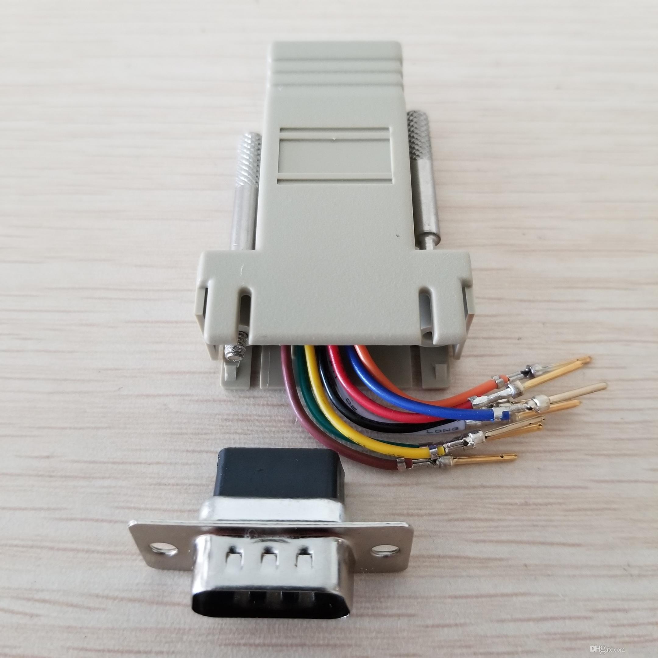RJ45 Samica do DB9 Mężczyzna RS232 COM Port Modułowy Extender na PC DIY
