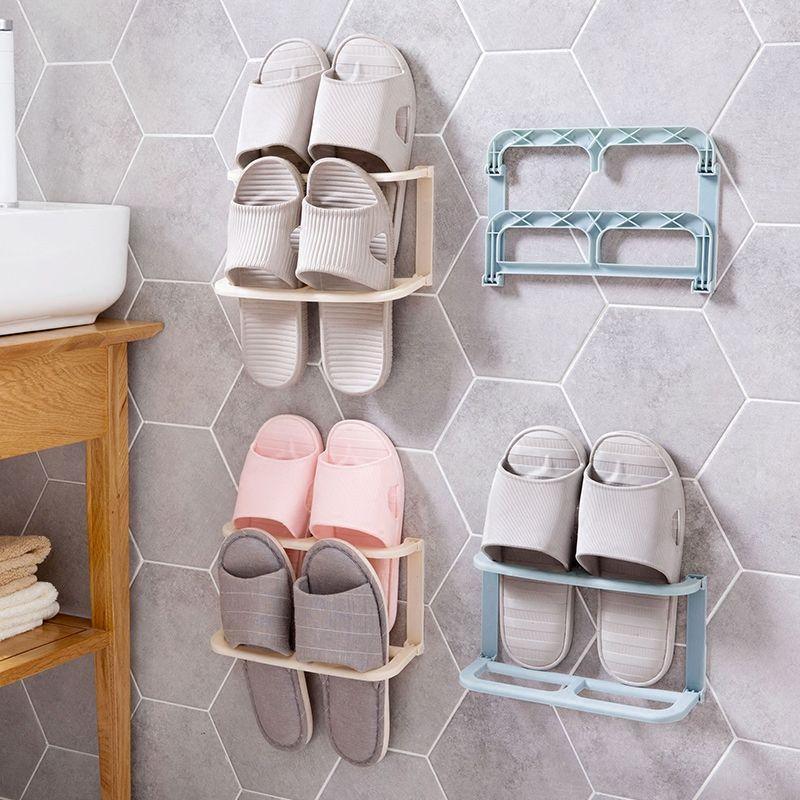 Montado en la pared del zapato plegable rack Plataforma Zapatos del deslizador de almacenamiento en rack de almacenamiento en rack de zapatos