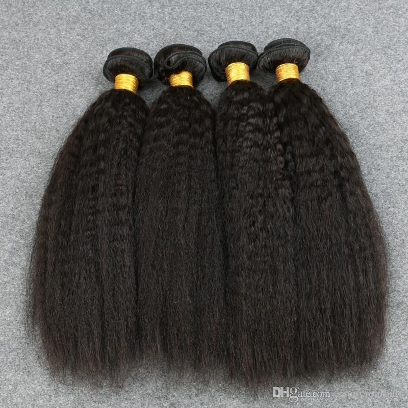 8A Brezilyalı Kinky Düz Saç Ucuz Perulu Malezya Hint Bakire İnsan Saç Uzantıları Brazilain Bakire Yaki saç atkı dalga straiight