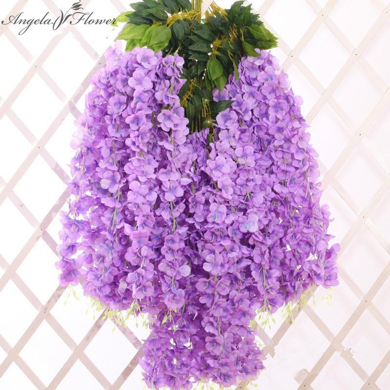 6pcs Lot artificiel Wisteria fleur Nouveau long soieries Fleur Faux mariage plante fenêtre décoration pour la maison Diy Hôtel Boutique Décor