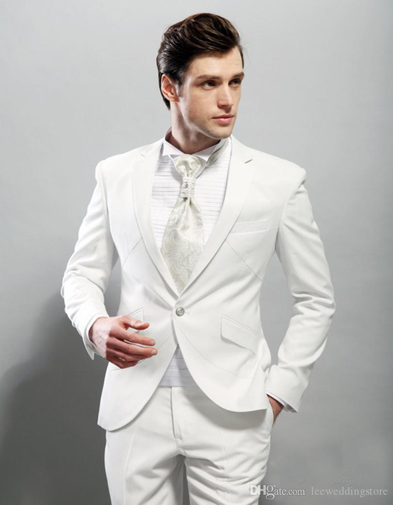 Men Suits White Custom Made Blazer Tailored Tuxedo Jacket Men Groom 2 Pieces Slim Fit Wedding Suits For Man Terno Masculino (Jacket+Pants)