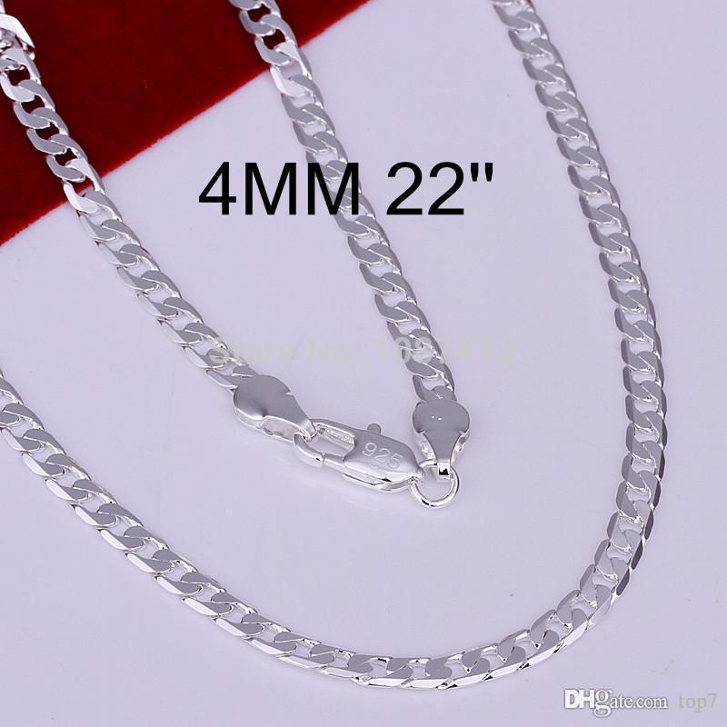 4 ملليمتر 925 فضة مطلي الأزياء ثعبان سلسلة القلائد للرجال مجوهرات 16 'إلى 30' جودة عالية LKN047