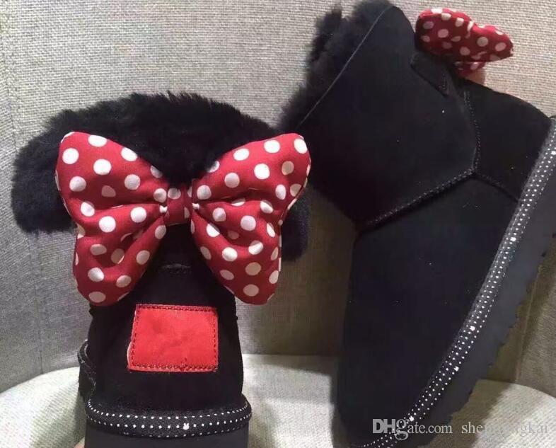 Mode Kinder Mädchen Schneeschuhe Oddler Bowtie Zurück Lederstiefel Mode Wohnungen Beiläufige wasserdichte Schuhe